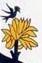 détail de l'oiseau de l'arcane XVII, tarot de Nicolas Conver et tarot de JC Flornoy. Une réminiscence de la chanson populaire : à la claire fontaine