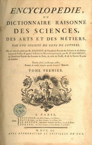 couverture de la première édition de l'Encyclopédie, tome premier