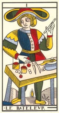 Tarot de Jean Dodal, I le Bateleur, restauration par JC Flornoy