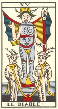 Tarot de Jean Dodal, Le Diable, restauration par JC Flornoy