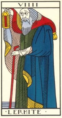 Tarot de Jean Dodal, VIIII Lermite, restauration par JC Flornoy