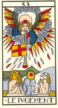 Tarot de Jean Dodal, Le Iugement, restauration par JC Flornoy