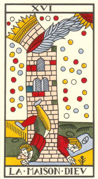 Tarot de Jean Dodal, La maison Dieu, restauration par JC Flornoy
