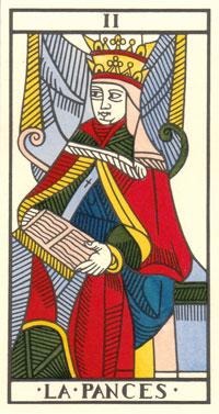 Tarot de Jean Dodal, II la Papesse, restauration par JC Flornoy