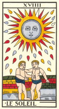 Tarot de Jean Dodal, Le soleil, restauration par JC Flornoy