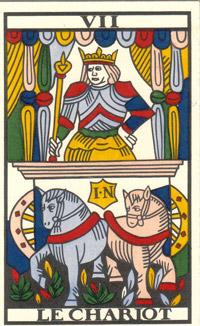 Tarot de Jean Noblet, VII Le Chariot, JC Flornoy restauration