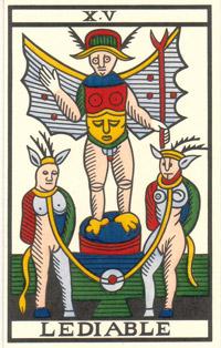 Tarot de Jean Noblet, XV Le Diable, JC Flornoy restauration