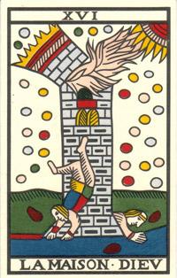 Tarot de Jean Noblet, XVI La maison Diev, JC Flornoy restauration