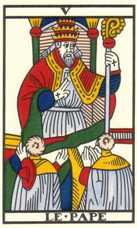 Tarot de Jean Noblet, V Le Pape, JC Flornoy restauration