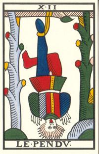 Tarot de Jean Noblet, XII Le Pendu, JC Flornoy restauration