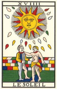 Tarot de Jean Noblet, XVIIII Le Soleil, JC Flornoy restauration